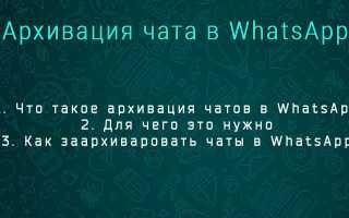 Что значит архивировать чат в Whatsapp? Как заархивировать и разархивировать чат в Whatsapp?